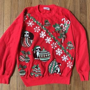 Ugly Red Christmas Sweater With Cat Cats